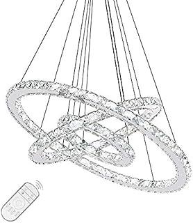 Lámpara de techo de diseño de cristal LED, creativa lámpara de araña con aros regulables