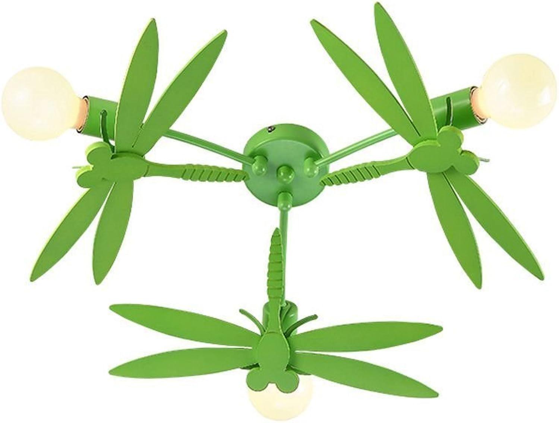 Pionthx Cartoon grüne Libelle Kind Deckenleuchte moderne minimalistische E27 3-Licht Deckenleuchte für junge Mdchen Zimmer Kindergarten Wohnzimmer Schlafzimmer Wohnung