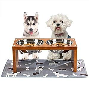 Yangbaga Cuencos para Perros elevados, tazones para Perros con tazones para Perros de Acero Inoxidable, con pies Antideslizantes para el Soporte y bultos Que evitan el Ruido para Cuencos 9