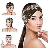 JTENG 4 Stück Damen Haarband Boho Stirnband Kopfband Turban Elastisches Knoten Dehnbares Baumwolle Haarbänder Blumen Sport Headband für Alltag Yoga Sport Fitness
