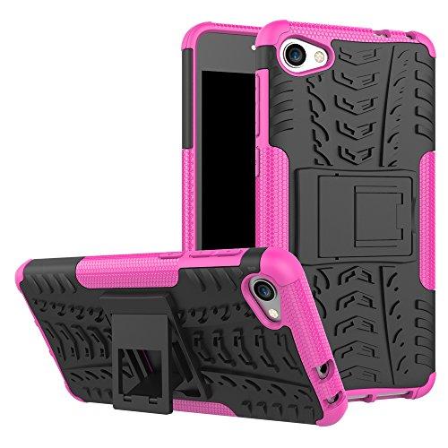 TiHen Handyhülle für Alcatel A5 LED Hülle, 360 Grad Ganzkörper Schutzhülle + Panzerglas Schutzfolie 2 Stück Stoßfest zhülle Handys Tasche Bumper Hülle Cover Skin mit Ständer -Rose