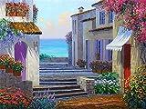 Kit de pintura de diamantes casa junto al mar bordado de diamantes venta paisaje flor imágenes de diamantes de imitación mosaico decoración del hogar A10 40x50cm