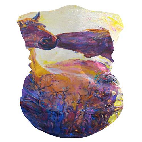 BOLIMAO Schutzmaske für Pferde mit Ölgemälde, atmungsaktiv, multifunktional, waschbar, Halstuch für Sonne, UV-Staub, Wind