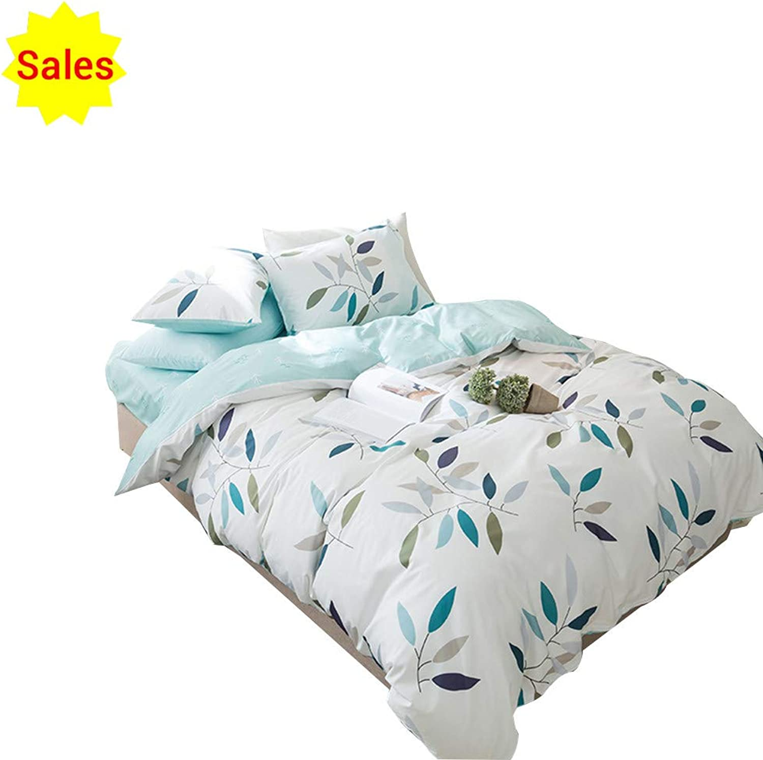 OTOB 3 Piece Duvet Cover Set Queen 2 Pillow Shams for Girls Woman - Hotel Quality 100% Cotton - Luxurious, Comfortable, Breathable, Soft and Extremely Durable, bluee White Leaves Pattern
