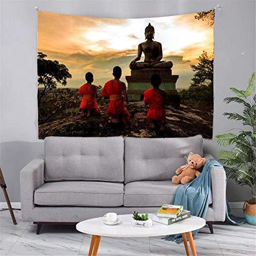 Tapestry Tapiz Pared Decoracion Serie Mandala(Buda al atardecer 166)150x200cm Colgante de pared Ropa de cama Dormitorio Decoración Estera de yoga Alfombras Manta de playa Tarot Hippie indio Boho