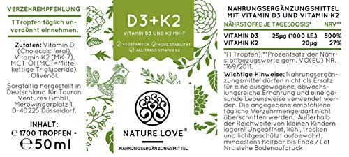 NATURE LOVE® Vitamin D3 + K2 (50ml flüssig) - Hoch bioverfügbar durch Original VitaMK7® 99,7% All-Trans + laborgeprüfte 1000 I.E. Vitamin D3 pro Tropfen - Hochdosiert, in Deutschland produziert - 7