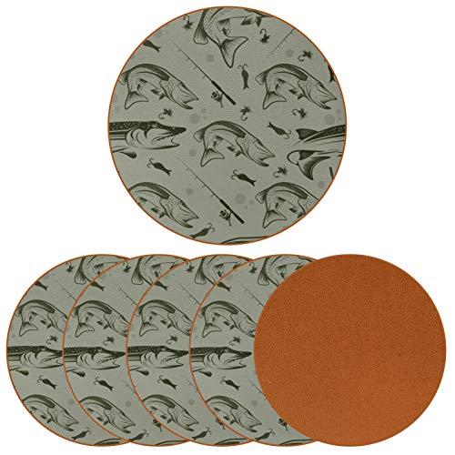 Paquete de 6 posavasos para bebidas, diseño de pesca, ideal para decoración de bar de inauguración de la casa.