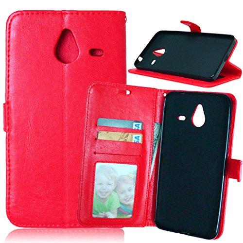 Telefono Caso per Nokia Microsoft Lumia 640XL ,PU Custodia In Pelle 3 Carte Slot Credito Flip Cover Case Chiusura Magnetica-Rosso