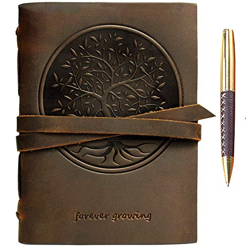 """Leather Journal Tree of Life Notebook Embossed Handmade Travel Diary, A5 Vintage Writing Bound for Men For Women Genuine Antique Rustic Leather 6""""x8"""" Engraved Paper Perfect for Notes Sketchb..."""