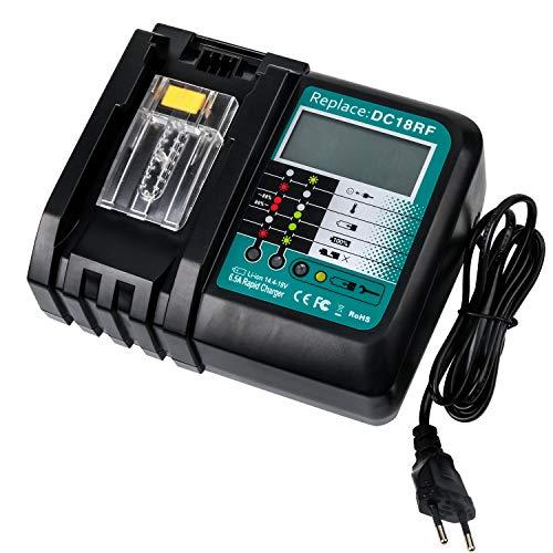 Schnellladegerät für Makita, DC18RF LCD 6.5A 14.4V und 18V für BL1415 BL1430 BL1440 BL1445 BL1460 BL1815 BL1830 BL1840 BL1845 BL1860 Ladegeräte Werkzeugakkus mit LCD Bildschirm