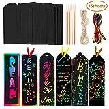 Bebester - Set de 75 marcapáginas negros para rascar con fondo de arco iris, con 15 lápices de madera y 75 cintas de satén