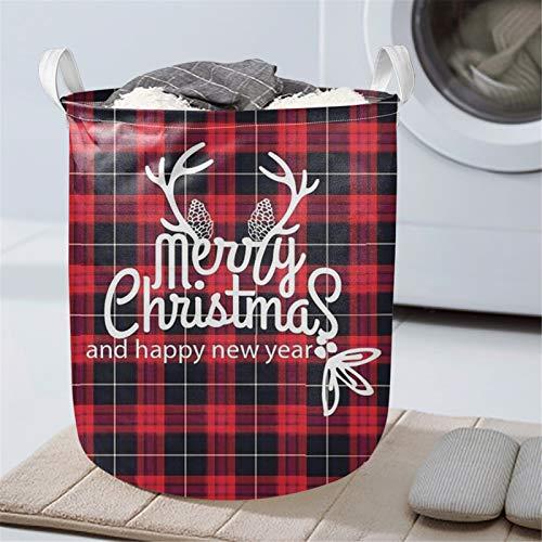 HUGS IDEA Cestas plegables de tela, cestas para dormitorios, bolsas de tela plegables de felices navidades, color rojo