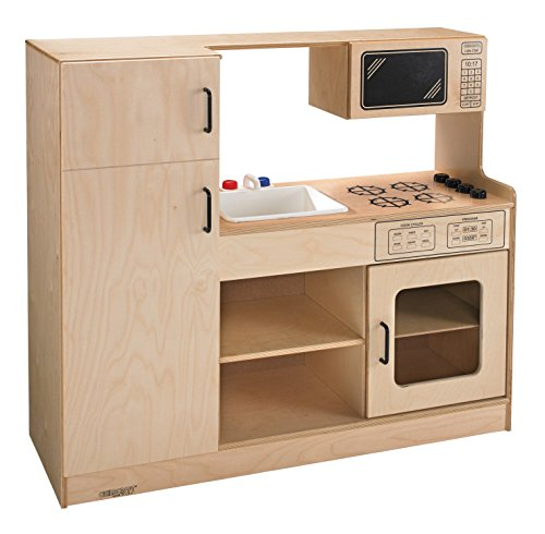 "Childcraft 1491193 Complete Open Kitchen Center, 42"" Height, 16"" Width, 47.75"" Length, Natural Wood"