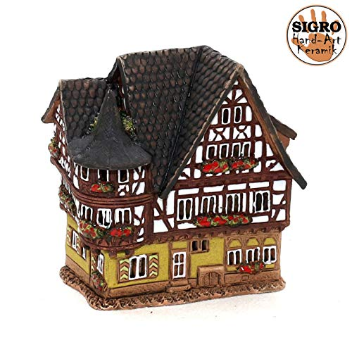 Unbekannt Keramik Teelichthaus Lichterhaus Teelichthalter Modell Fachwerkhaus 13 cm