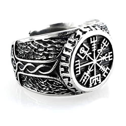 Anillo de acero inoxidable Vegvisir en círculo runa con el martillo de Thor,...