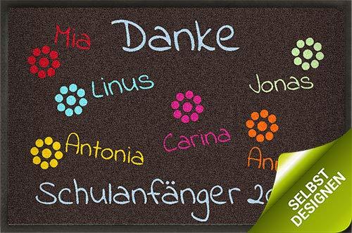 mymat Fußmatte Schulanfänger in braun - Verschiedene Größen - Kindergarten Abschiedsgeschenk - mit eigenem Text und Namen Bedrucken Lassen