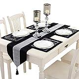 TtS 5 Stück Tischset Samt Tischläufer + Platz-Matten Tischmatte Diamanten Tischdecke Küche Party (Velvet-Schwarz)