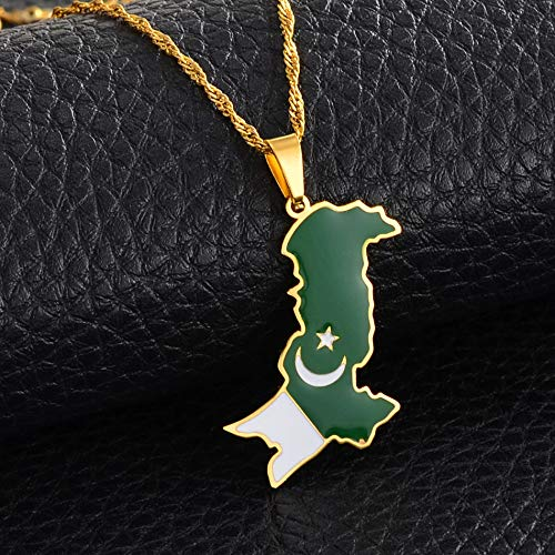 Map Pendant Necklace For Woman,Golden Stainless Steel Pakistan Map Flag Pendant Necklaces With Golden Chain Friendship Jewelry Gift For Women Men
