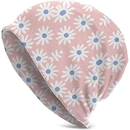 Daisies Floral Pantone Rose Quartz and Serenity Bl (4538) Gorro de punto para hombre, Gorro de invierno para hombre Regalo de invierno Navidad Simple Nuevo Ajuste al aire libre Acción de gracias