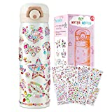 HULASO for Girls Create Your Own Water Bottles with Tons of Rhinestone Gem Stickers - Art and Craft Kit, Food Grade 304 Stainless Steel Mug for 4 5 6 7 8 9 10 Years Old Girls (17 OZ)