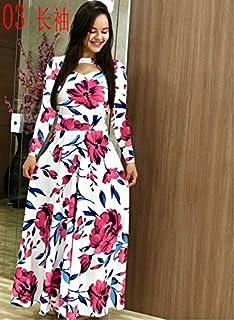 Elegant autumn Women's Dress 2020 Casual Bohemia Flower Print Maxi Dresses Fashion Hollow Out Tunic Dress Plus Size 5XL brand:TONWIN (Color : C long, Size : 5XL)