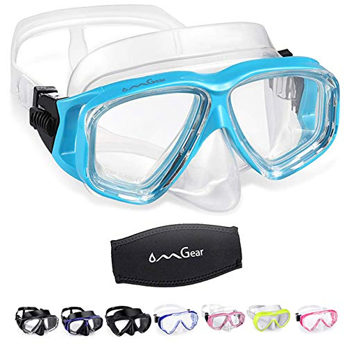 OMGear Swim Goggles with Nose Cover Diving Mask Snorkeling Gear Kids Adult Snorkel Mask Scuba Free Diving Spearfishing Anti-Leak Anti-Fog Neoprene Strap Cover Impact Resistance (Aqua)