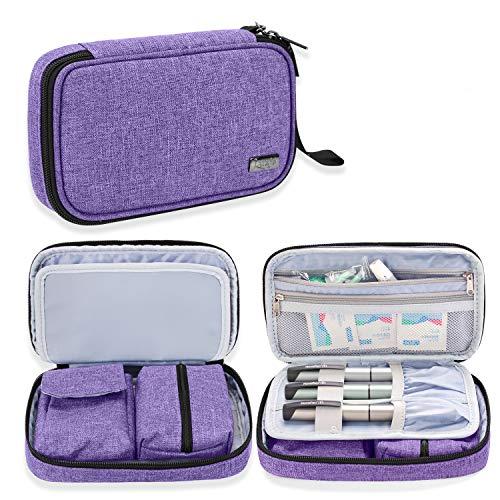 Luxja bolsa para diabetic, Estuche para diabéticos, bolsa de almacenamiento para glucómetro y otros suministros para diabéticos (solo bolsa), Púrpura