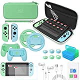 Switch Accessories Bundle - YUANHOT Upgraded Essential Pack for Nintendo Switch with Carrying Storage Case & Screen Protector, Joy Con Handle Grips & Steering Wheels, Game Holders & More - Green