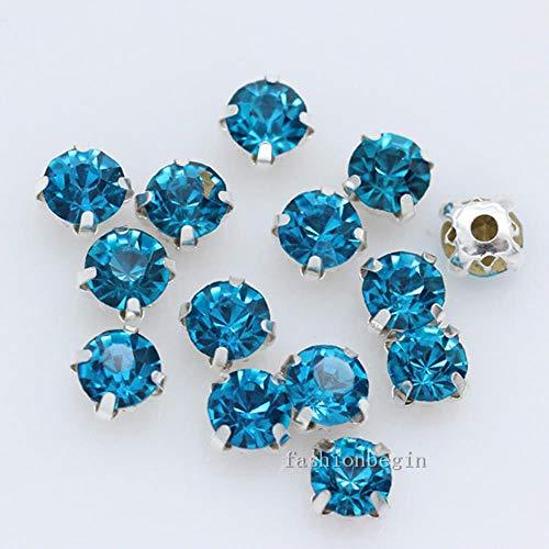 36 P 6 mm kleur naaien op kristal strass zilver klauw Montee 4 gaten genaaid sieraad knoop stenen jurk bruiloft parels capri blauw