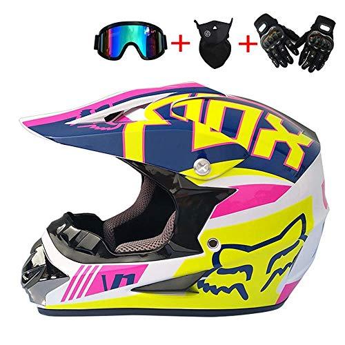 Casco de Motocross para adultos, Cascos de motocicleta de cara completa con...