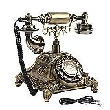 Porcyco Teléfono retro, tradicional Retro Teléfono multifuncional de cobre con cable Teléfono claro de calidad de sonido para el hogar fijo teléfono fijo para la oficina del hotel