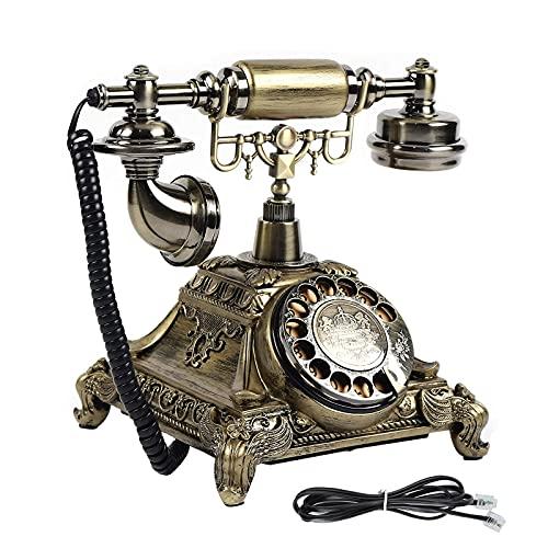 Teléfono con Esfera Rotativa Vintage, Teléfonos Fijos Antiguos de Easongee con Pulsador Y Campana Metálica Clásica, Teléfono con Cable para Decoración de Hogar Y Hotel