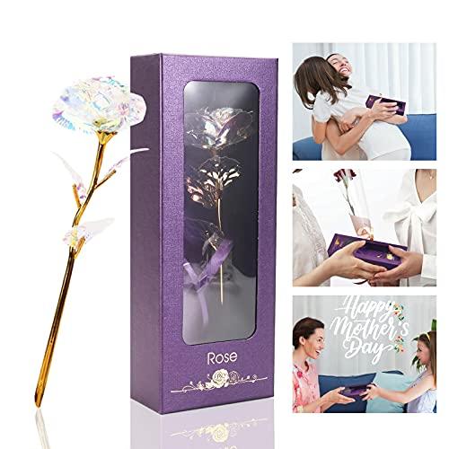 24K Rose Eternelle, Fleurs Artificielles Deco, Fête des Mères Cadeau pour Maman, Cadeau Anniversaire pour Femmes Petite Amie, Iridescent