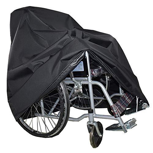 KHXJYC Rollstuhlabdeckung, 600D Oxford wasserdichte, selbstfahrende Rollstuhlabdeckung Allwetter-Außenschutz,Schwarz,115x75x130cm