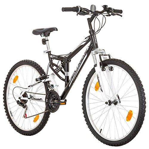 Probike Extreme 26 Pouces VTT Tout Suspendu 18 Vitesses, vélo Homme et vélo Femme, Convient de 155-180 cm (Noir)
