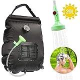 Ducha Camping Bolsa de Ducha Solar, Bolsa de Agua de 20L para Camping, con Indicador de Temperatura y Cabezal de Ducha para...