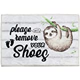 Sloth Please Remove Your Shoes Funny Doormat Mat Flannel Rug for Front Entrance Indoor Outdoor Bedroom - Non Slip Back Doormat for Office Kitchen Apartment