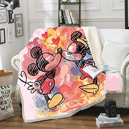 SSLLC Disney Mickey & Minnie Mouse Tagesdecke aus weichem Fleece, 3D, Digitaldruck für Erwachsene & Kinder für Sofa, Sofa, Wohnzimmer, A01, 100CMX140CM