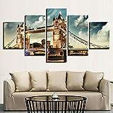 Cuadros Decor Salon Modernos 5 Piezas Lienzo Grandes XXL Murales Pared Hogar Pasillo Decor Arte Pared Abstracto HD Impresión Foto Regalo Famoso puente de la torre de Londres (Enmarcado)