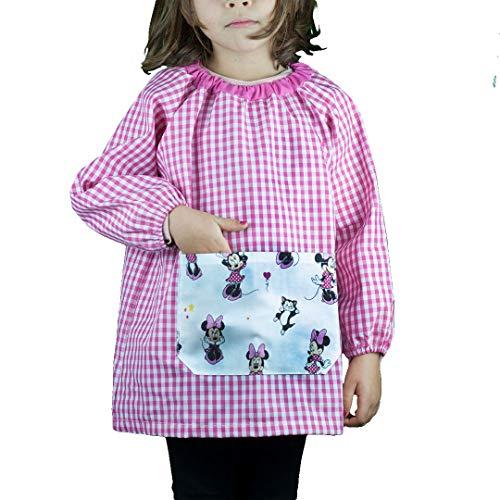 KLOTTZ - Babi guardería sin botones con bolsillo de tela MINNIE de la marca Niñas color: FUCSIA talla: 4