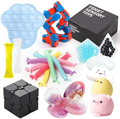 Sensory Fidget Toy Set 19 Pack Bundle Sensory Toys Anxiety Stress Relief with Push Pop Bubble product image