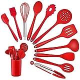 Homikit Set di 12 utensili da cucina in silicone, resistenti al calore, set di posate da cucina con supporto per utensili, salutari e antiaderenti, lavabili in lavastoviglie, colore: rosso