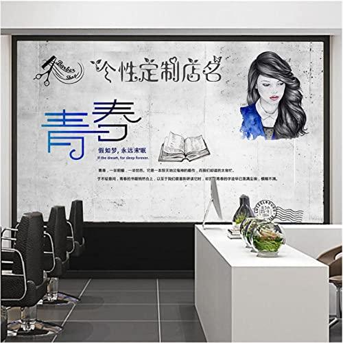 Fondo De Pantalla De Papel Tapiz 3D Personalidad Creativa Peluquería Mural 5D Tridimensional Estilo Industrial Salón De Belleza Decoración Revestimiento De Paredes-200Cmx140Cm