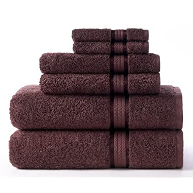 Cotton Craft Ultra Soft 6 Piece Towel Set Chocolate, Luxurious 100% Ringspun Cotton, Heavy Weight & Absorbent, Rayon Trim -2 Oversized Large Bath Towels 30x54, 2 Hand Towels 16x28, 2 Wash Cloths 12x12