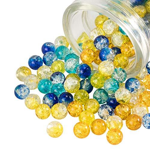 PandaHall 200 stks 5 Kleuren Bakken Geschilderd Crackle Glas Kralen 8mm Ronde Handgemaakte Crackle Kralen Assortiment…