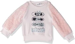 Giggles Printed Round-Neck Fur Long Sleeves Ribbed-Trim Sweatshirt for Girls
