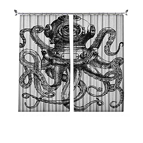 Cortinas plisadas con aislamiento térmico pulpo plisado, estilo vintage buzo con tentáculos de animales marinos, concepto de buceo, para travesaños y rieles, 84 x 72 pulgadas, gris carbón y blanco