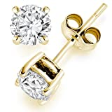 1 Carat Solitaire Diamond Stud Earrings 18K Yellow Gold Round Brilliant Shape 4 Prong Push Back (L-M Color, I1-I2 Clarity)