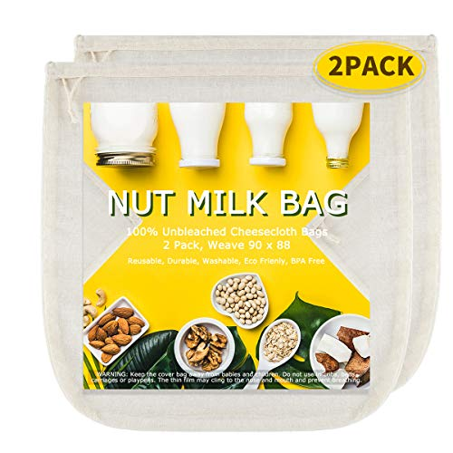 Nut Milk Bags(Upgraded, Weave 90x88), All Natural Cheesecloth Bags 12'x12' 2 Pack, 100% Unbleached Cotton Cloth Bags for Cheese/Tea/Yogurt/Juice/Wine/Soup/Herbs, Washable Reusable Almond Milk Strainer