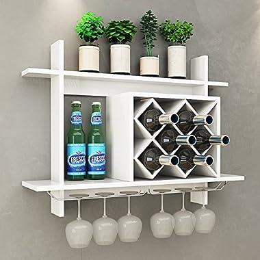 Giantex Wall Mounted Wine Rack Organizer W/Metal Glass Holder & Multifunctional Storage Shelf Modern Diamond-Shaped Wood Wine Server for 6 Bottles Wine Storage Display Rack (White)